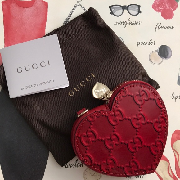 78d70f0d59a Gucci Handbags - Authentic Gucci Heart Shaped Red Coin Purse